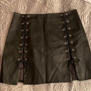 Faux Leather Side Lace Skirt
